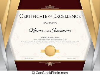 Luxury certificate template with elegant silver and golden...