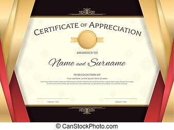 Elegant certificate template for excellence achievement clip luxury certificate template with elegant red and golden border frame on thai background diploma yadclub Gallery