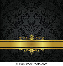 Luxury charcoal and gold book cover. This image is a vector illustration.