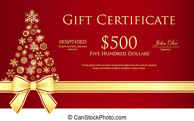 Luxury Christmas certificate with Christmas tree composed...