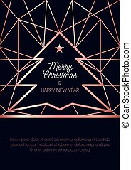 Luxury Christmas greeting card or banner design template. Rose gold geometric lines background for holidays