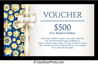 Luxury Christmas voucher with golden snowflakes on blue background and with white ribbon