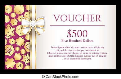 Luxury Christmas voucher with golden snowflakes on purple background and with white ribbon