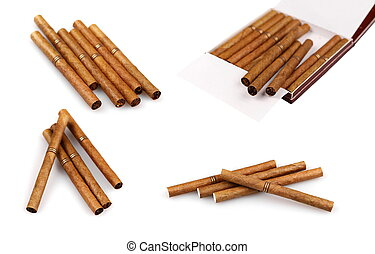 Luxury cigarillos set isolated