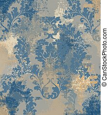 Luxury classic ornament on grunge background Vector. Baroque intricate design illustrations
