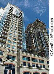 Luxury condos under construction in Calgary, Alberta.