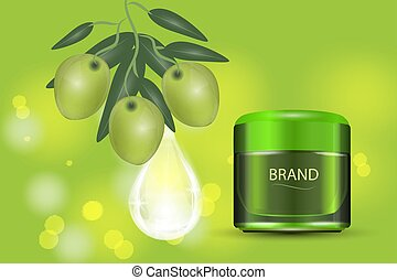Luxury cosmetic cream jar on bokeh background with green olives and Collagen serum drop