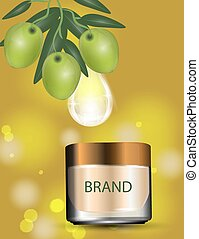 Luxury cosmetic cream jar on bokeh background with green olives and Collagen serum drop.