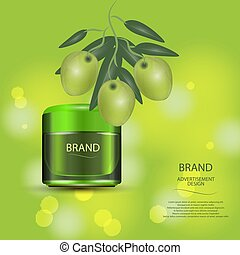 Luxury cosmetic cream jar on bokeh background with green olives.