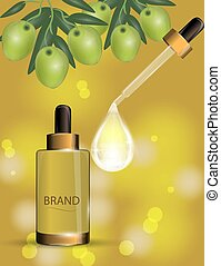 Luxury cosmetic moisturizing spray on bokeh background with green olives and Collagen serum drop.