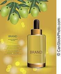 Luxury cosmetic moisturizing spray on bokeh background with green olives.