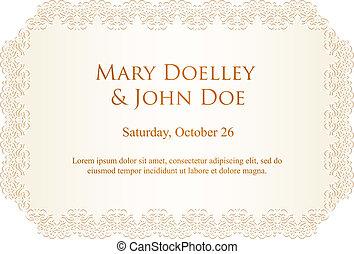 Luxury creamy wedding invitation with lace border -...