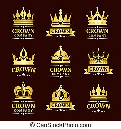 Luxury crown logo set