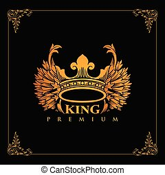 Luxury Crown of the golden winged king design vector illustration