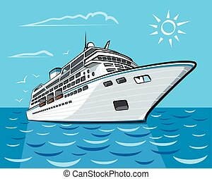 luxury cruise liner - luxury cruise ship liner sailing in...