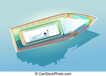 Luxury cruise liner, passenger ship top view