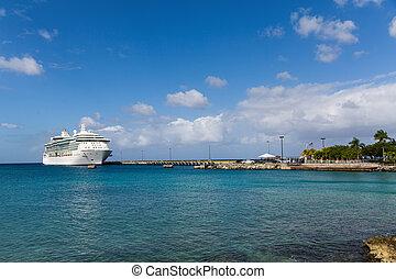 Luxury Cruise Ship Docked in Bay on St Croix - White Luxury...