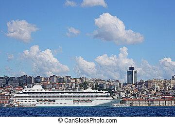 Luxury cruise ship in Bosporus, Istanbul