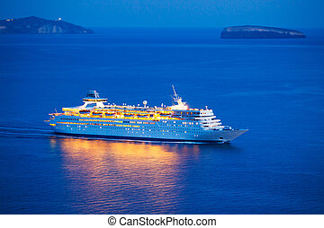 Luxury Cruise Ship Sailing at Sunset