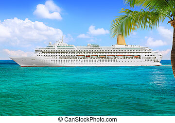 Cruise Ship - Luxury Cruise Ship Sailing from Port