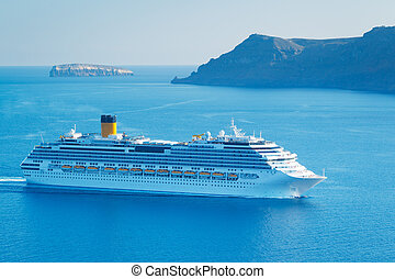 Luxury Cruise Ship, Sailing in the Mediterranean