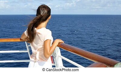 Luxury cruise ship vacation on tropical ocean travel - Young tourist at sea