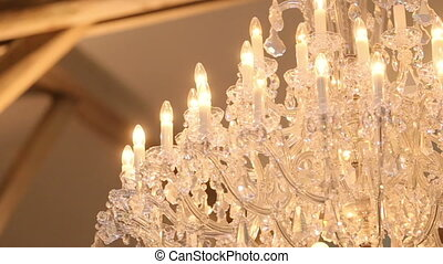 Luxury crystal chandelier close up. Beautiful expensive...