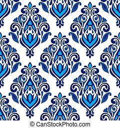 Luxury Damask floral seamless pattern blue