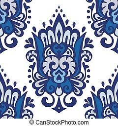 Luxury Damask seamless pattern blue background