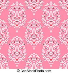 Luxury damask seamless vector pattern - Cute pink Abstract...