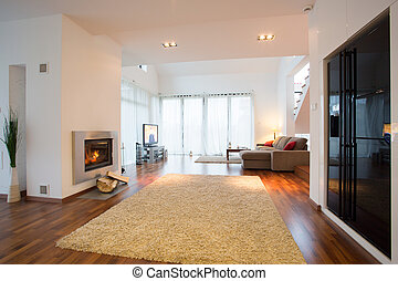 Horizontal view of luxury detached house interior