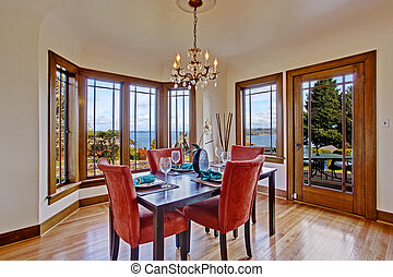 Luxury dining room interior with served table