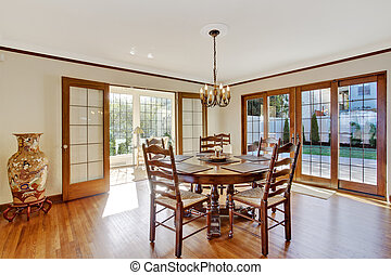 Luxury dining room with round table and chairs
