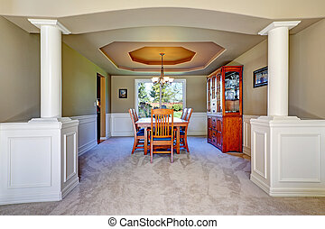 Luxury dining room with white columns