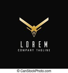 luxury drone technology logo design concept template