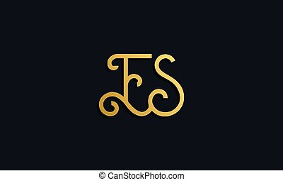 Luxury fashion initial letter ES logo. This icon incorporate...