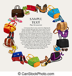 Luxury fashion shopping frame background with women shoes bags and accessories vector illustration