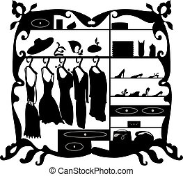 Luxury fashion wardrobe isolated vector illustration. Female clothes and shoes shopping mall interior silhouette