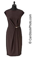 luxury female dress on clothier s rack isolated on white background