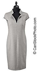 luxury female gray dress on clothier s rack isolated on white background