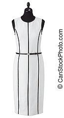 luxury female white dress on clothier s rack isolated on white background