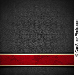 Template of gray velvet and texture with ornate floral seamless and red plaque
