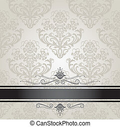 Luxury floral silver and black book cover. This image is a vector illustration