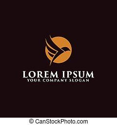 luxury flying bird logo design concept template