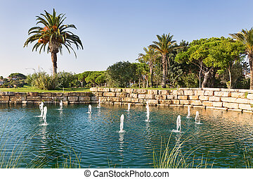 Luxury Fountain Lake in the park golf course in Portugal.