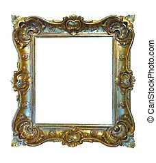 Luxury gilded frame. Isolated over white