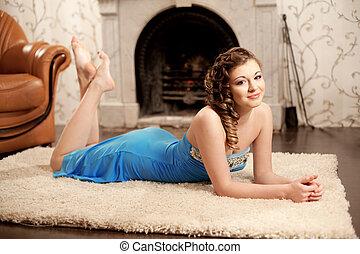 Luxury girl, amid the vintage inter - Image of luxury girl,...