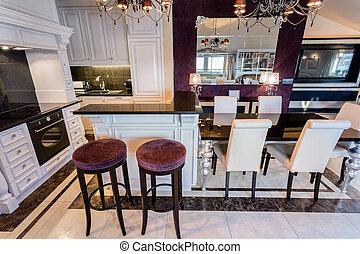 Luxury glamour interior - Horizontal view of modern glamour ...