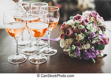 Luxury glasses with champagne on the table