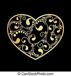 luxury gold heart